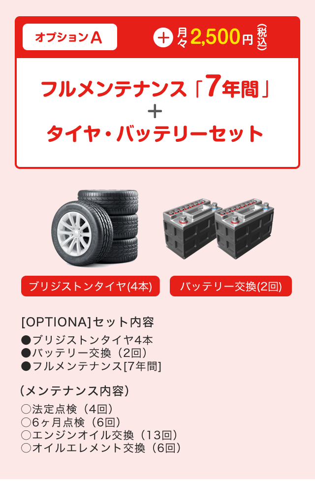 フルメンテナンス「7年間」+タイヤ・バッテリーセット